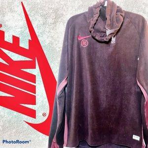 Nike FC Winter Drill Shirt Fleece Pullover in Plum, Size XL